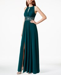R And M Richards Petite Sleeveless Beaded Gown