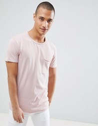Tom Tailor T Shirt In Pink Cut And Sew With Chest Pocket