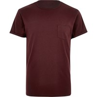 River Island Mens Dark Red Roll Sleeve T Shirt