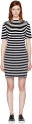 Alexander Wang T By Navy And White Striped Velour Dress