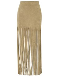 Theperfext Tan Suede Fringe Mimi Skirt