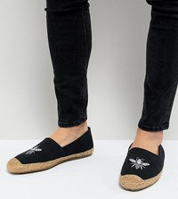 Frank Wright Wide Fit Embroided Espadrilles In Navy
