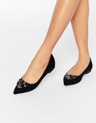 Carvela Manic Embellished Point Flat Shoes Black Suedette