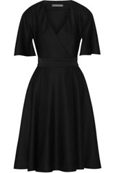 Alexander Mcqueen Cape Sleeve Grain De Poudre Wool Wrap Dress Black