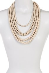 Madison Parker 5 Row Beaded Necklace Beige