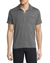 Billy Reid Smith Short Sleeve Polo Shirt Grey Melange