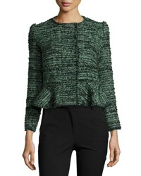 Rebecca Taylor Textured Tweed Peplum Jacket Green Black Multi