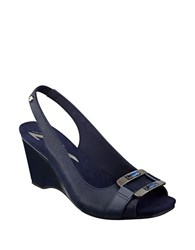 Anne Klein Willful Wedge Sandals Navy Blue