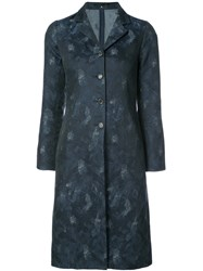 Peter Cohen Patterned Single Breasted Coat Cotton Polyamide Blue