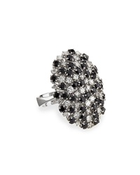 Roberto Coin 18K White Diamond And Black Sapphire Cocktail Ring Blue