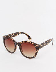 Warehouse Marbled Round Sunglasses Brown