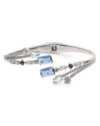 Carolee Bypass Hinged Cuff Bracelet Blue Silver