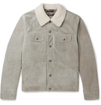 Tom Ford Shearling Trimmed Suede Jacket Gray