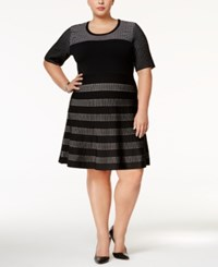 Calvin Klein Plus Size Colorblocked Fit And Flare Dress Black White
