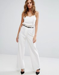 Lipsy Wide Leg Tailored Trouser White
