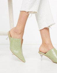 Topshop Heeled Mules With Clear Heel In Sage Green