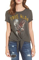 True Religion Women's Brand Jeans Eagle Tie Front Tee Charcoal