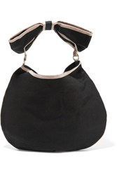 Red Valentino Redvalentino Faux Leather Trimmed Canvas Shoulder Bag Black
