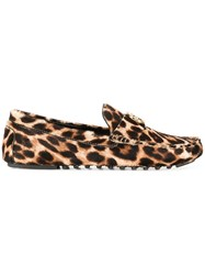 Tory Burch Leopard Pattern Loafers Leather Calf Hair Rubber Brown