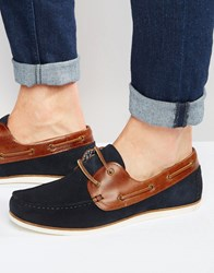 Asos Boat Shoes In Navy Suede With Tan Leather Facings Navy