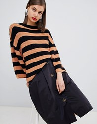 Moss Copenhagen Oversized Knitted Jumper In Stripe Faded Rose Black Brown