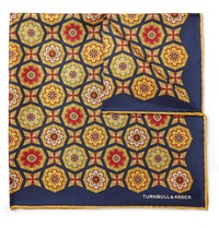Turnbull And Asser Printed Silk Twill Pocket Square Yellow