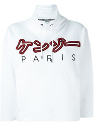 Kenzo Embroidered Hoodie White