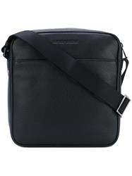 Emporio Armani Zipped Messenger Bag Men Calf Leather Polyester One Size Black