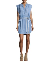 L'agence Sleeveless Twill Chambray Shirt Dress Washed Indigo