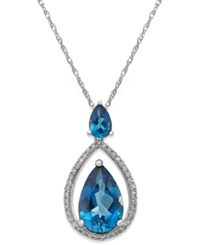 Macy's London Blue Topaz 3 9 10 Ct. T.W. And Diamond 1 5 Ct. T.W. Pendant Necklace In 14K White Gold