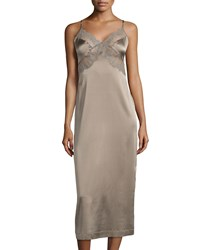 La Perla Silver Magnolia Lace Trim Silk Nightgown Coffeemilk