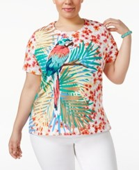 Alfred Dunner Plus Size Classics Tropical Print T Shirt Turquoise