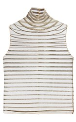 Genny Sleeveless Turtleneck Top Stripe