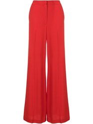 Msgm Palazzo Trousers Polyester Acetate Viscose Red