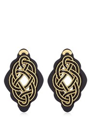 Anna E Alex Regina Nera Wooden Frame And Rope Earrings