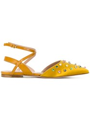 Red Valentino Pointed Embellished Flats Yellow And Orange