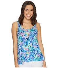 Lilly Pulitzer Knit Pajama Tank Top Multi Ocean Commotion Blue