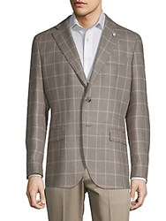 Lubiam Grid Plaid Wool And Silk Sport Coat Light Brown