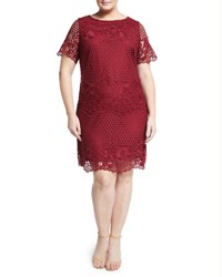 Julia Jordan Plus Short Sleeve Lace Shift Dress Wine
