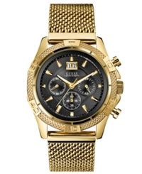 Guess Watch Men's Chronograph Gold Tone Stainless Steel Mesh Bracelet 46Mm U0205g1