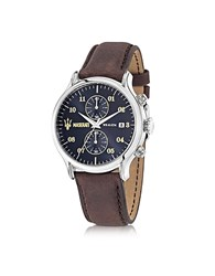 Maserati Epoca Chronograph Navy Blue Dial And Brown Leather Strap Men's Watch