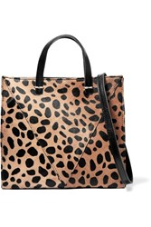 Clare V. V Simple Mini Leopard Print Calf Hair And Textured Leather Shoulder Bag Leopard Print