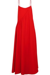 Adeam Layered Crepe Gown Tomato Red