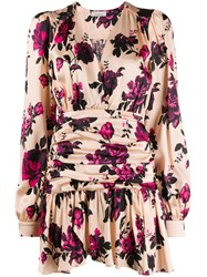 Laneus Floral Print V Neck Dress Neutrals