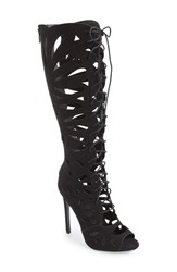 Women's Topshop 'Ravishing' Cutout Lace Up Peep Toe Boot 4 1 2' Heel
