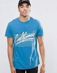 New Look T Shirt In Acid Wash Blue With California Print Bright Blue
