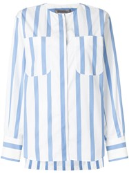 Sportmax Striped Fitted Blouse Cotton Blue