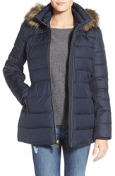 Petite Women's Michael Michael Kors Hooded Down And Feather Fill Coat With Faux Fur Trim Navy