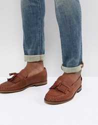 Hudson H By Alloa Leather Loafers In Cognac Tan