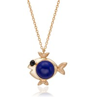 S H Koh Magical Fish Pendant Lapis And Onyx Gold